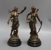 Two French Art Nouveau spelter figurines tallest 34cm