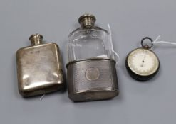 A Victorian engine-turned silver-mounted spirit flask, monogrammed, London 1867, makers Williamson &