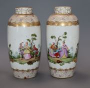A pair of Dresden Augustus Rex style vases, decorated with ladies and gentlemen