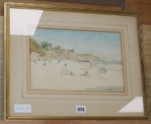 Ronald Gray (1868-1951), watercolour, Sunbathers on a beach, signed and dated 1928, 20 x 31cm