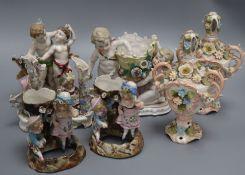 A quantity of Continental porcelain figure groups