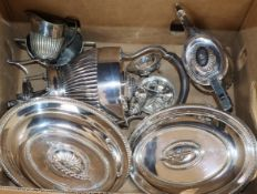 A pair of plated entree dishes, tea set, etc.