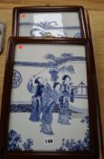 A pair of Chinese blue and white porcelain wall plaques height 35cm