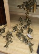 Three rococo style wall lights and a candelabra wall lights height 38cm