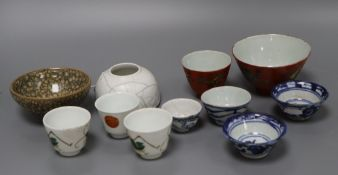 A group of Chinese porcelain cups and a brush washer