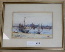 O. Mohamed, watercolour, Shoreham harbour, signed, 16 x 24cm