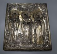 A 19th century Russian/Greek icon with silver-plated oklad 36 x 32cm