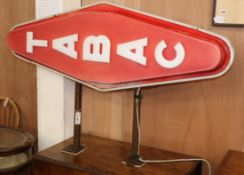 A vintage French Tabac illuminating shop sign L.140cm