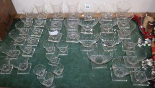 A part suite of 1930's art deco drinking glasses