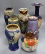 A Doulton Eliza Simmance vase and six other Doulton stoneware vases