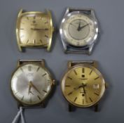 A steel and gold plated Telstar Seastar watch and three others, including Roamer.