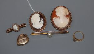 A 9ct gold mounted cameo brooch, one other cameo pendant, two brooches, a pendant and a diamond