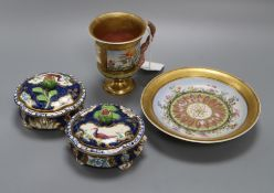 A pair of late Victorian Worcester style circular porcelain boxes and covers and two other items (13