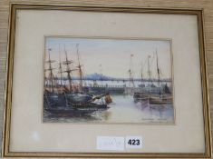 O. Mohamed, watercolour, Burntisland Opposite Leigh, signed and dated 1912, 16 x 24cm