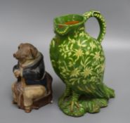 A Johann Maresch pig jug and a Thoune Swiss pottery owl jug