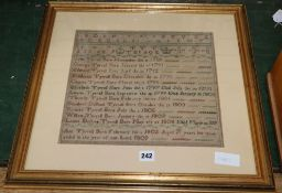 A George III family tree embroidered sampler, dated 1809