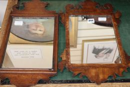 An inlaid tray and two small mirrors