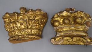Two carved giltwood coronet crowns