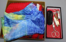 A Hermes cashmere printed (CWNY museum design) scarf, an Asprey gold pen knife etc. (6 items)