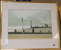 John Bond (1945-) watercolour, Fishermen and breakwaters, signed, 25 x 36cm