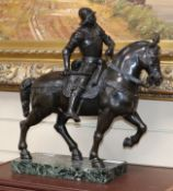A 20th century bronze warrior on horseback