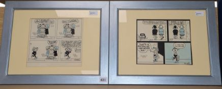 Reg Smythe (1917-1998), two pen and ink Andy Capp four-panel strips cartoons, signed, 21 x 23cm