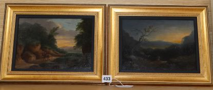 Early 19th century English School, pair of oils on panels, Travellers in landscapes, monogrammed J.