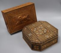 A sandalwood box and a mother of pearl inlaid octagonal box