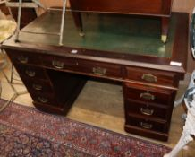 A late Victorian mahogany pedestal desk W.120cm
