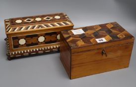 A specimen cube parquetry box and a marquetry box