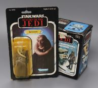 Star Wars - Kenner - an original carded Return of the Jedi figure of Bib Fortuna and a boxed Vehicle