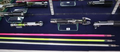 Star Wars - Parks Sabers - three replica metal bodied lightsabers, comprising Graflex, Echelon and