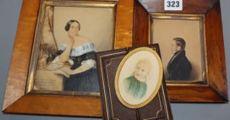 Three Victorian framed portrait miniatures