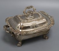 A George III Sheffield plate tureen and cover height 14cm