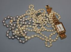 Mixed jewellery, enamelled pendant, simulated pearl necklaces, Klaus Kobec ladys watch etc