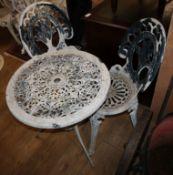 A circular aluminium garden table and two chairs Table 60cm diameter