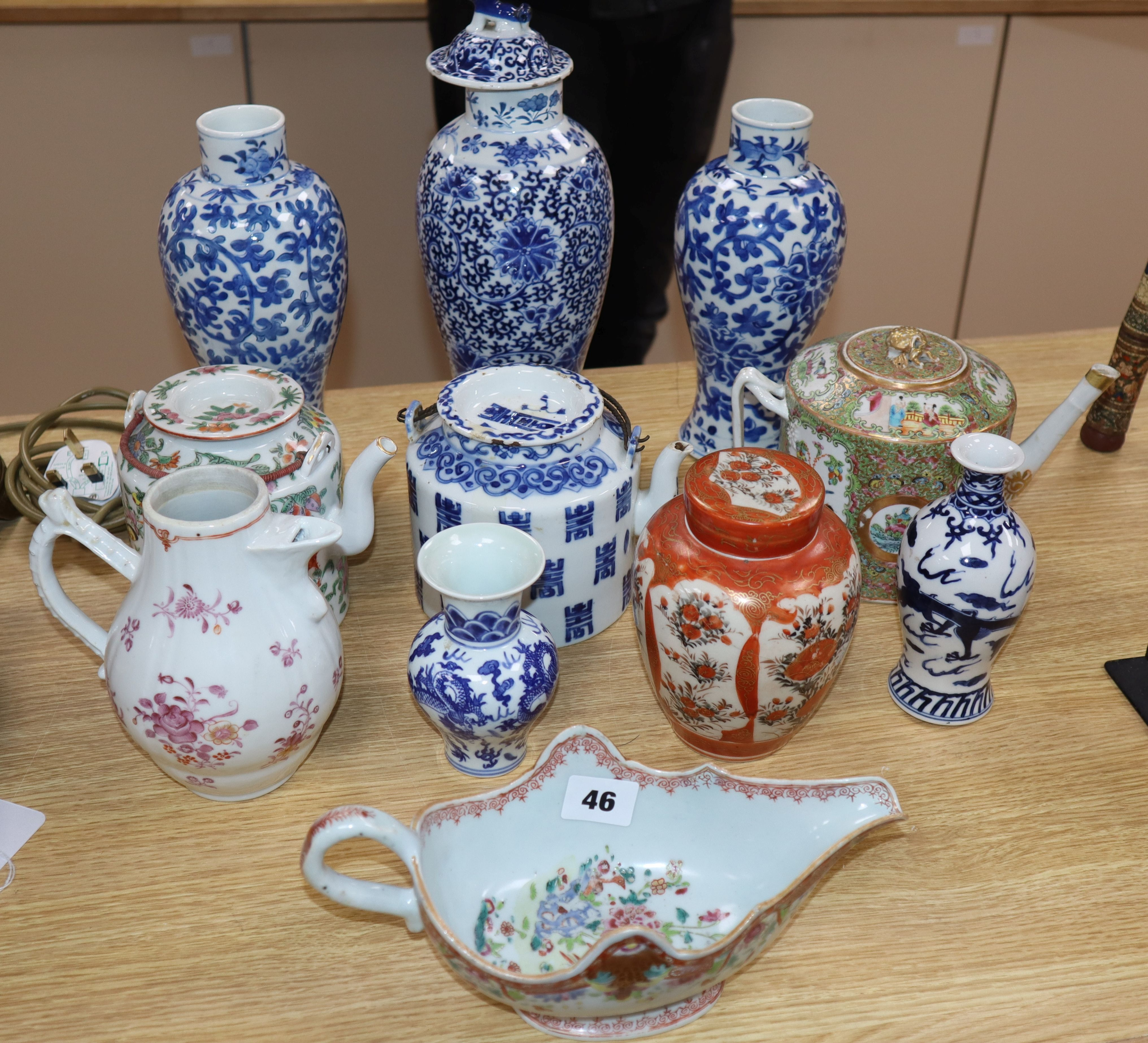 Lot 46 - A group of 18th and 19th century Chinese porcelain vessels and three other vases tallest 31cm