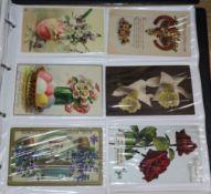 Two postcard albums, loose postcards and cigarette album, etc.