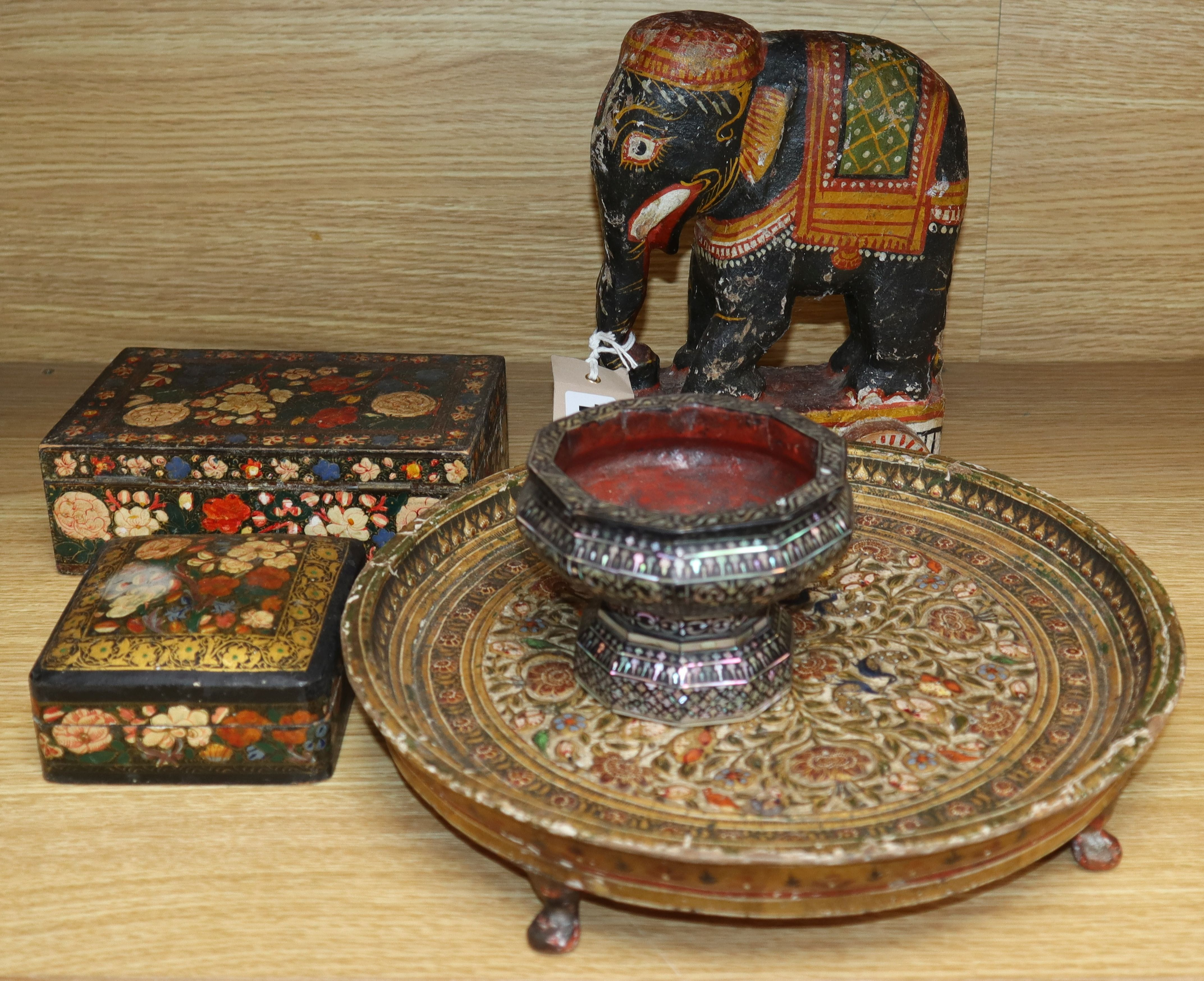 Lot 111 - A Kashmiri footed tray, two similar boxes, a Rajasthan toy elephant and a lacquer and abalone footed