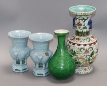 A pair of Chinese Jun type vases, a green glazed vase and a famille rose vase tallest 28cm
