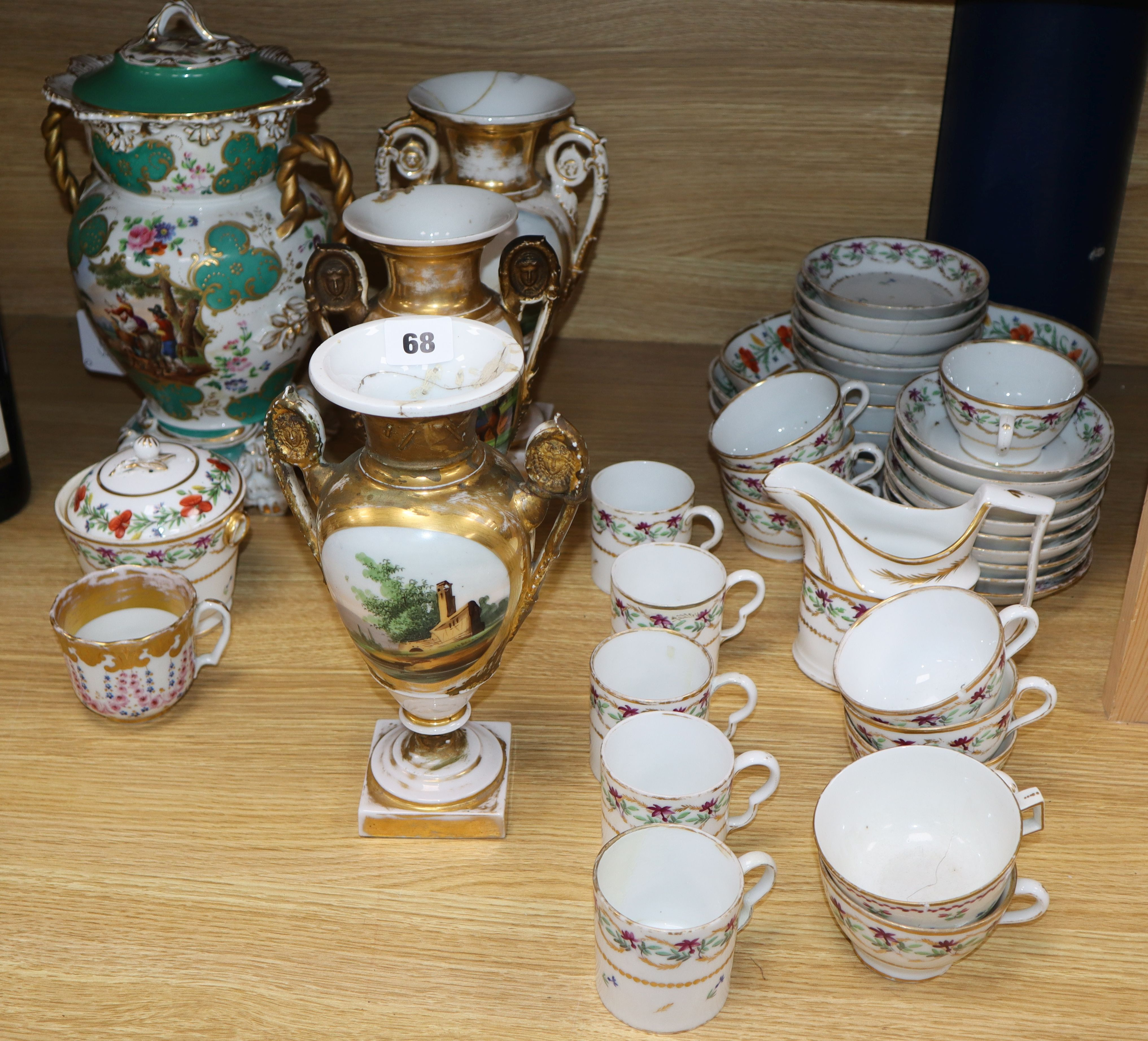 Lot 68 - A group of 19th century French porcelain vases, tea and dessert wares including a Jacob Petit jar
