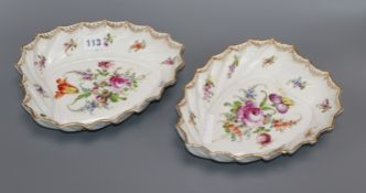 A pair of Dresden leaf shaped dishes length 24.5cm
