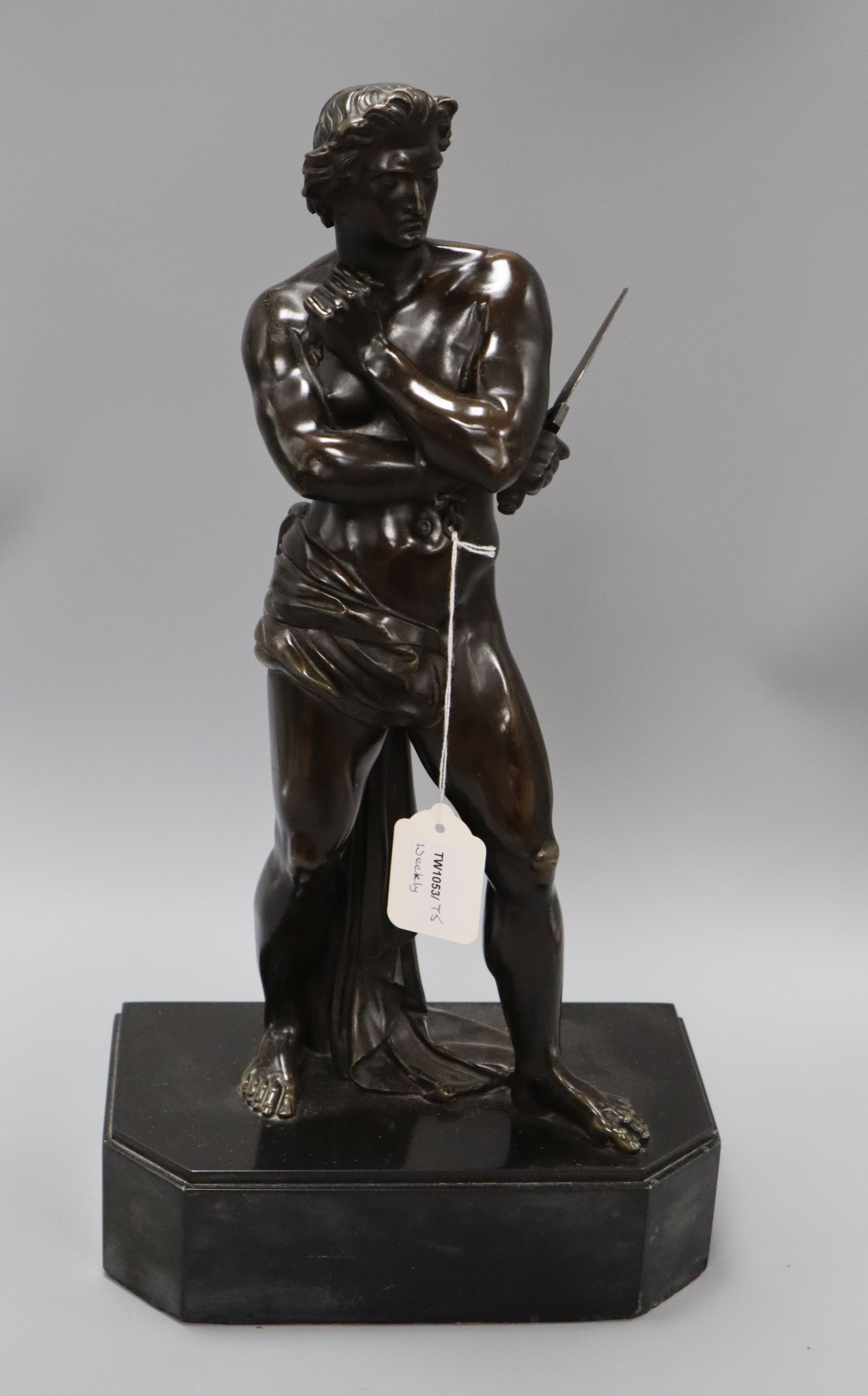 Lot 60 - A 19th century bronze figure of a classical warrior, numbered 2269 height 46cm