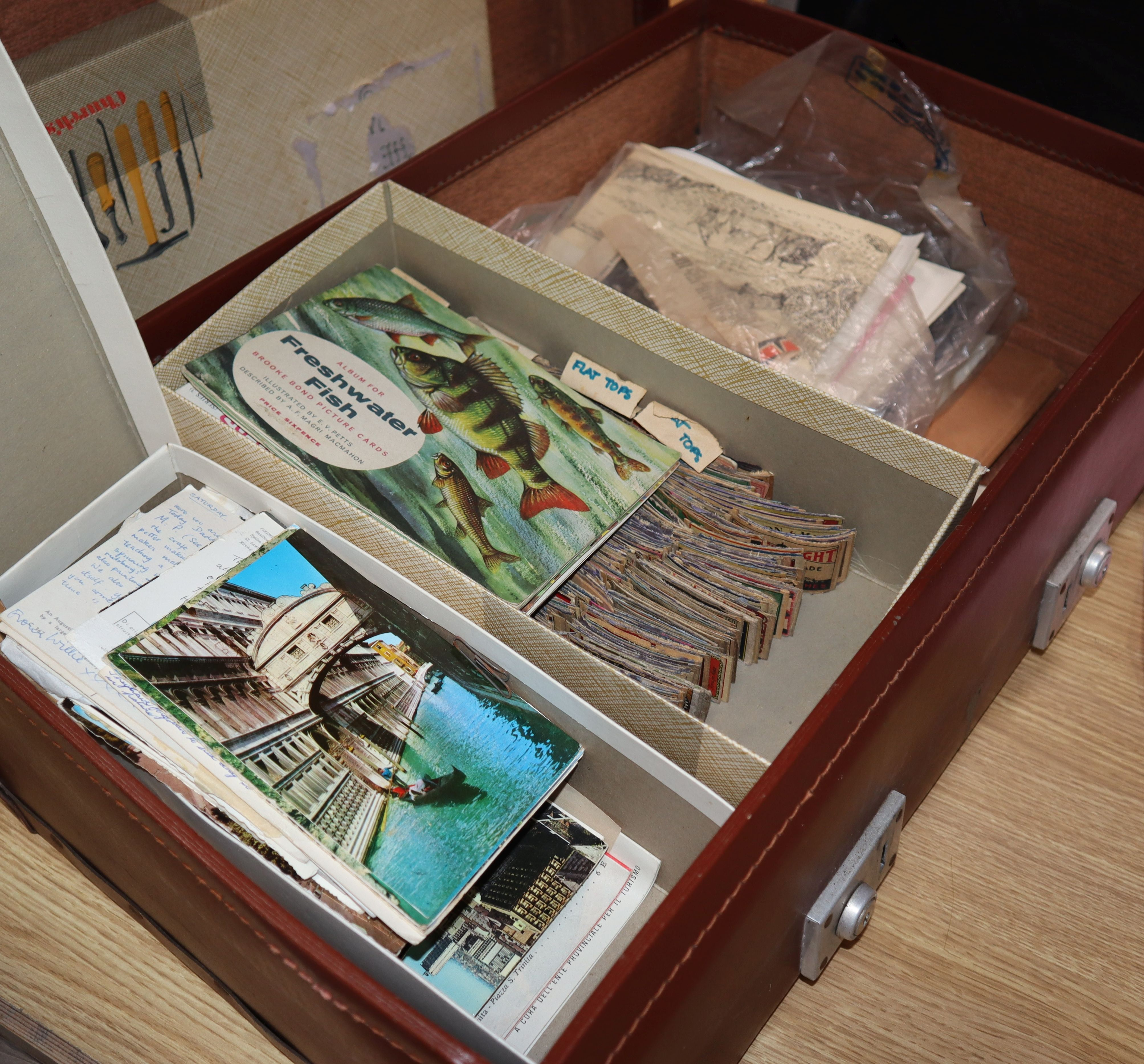 Lot 44 - A suitcase of assorted tea cards, loose stamps, Royal ephemera etc