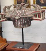 A Senuko Wanyugo Ivory Coast two headed helmet mask width 75cm