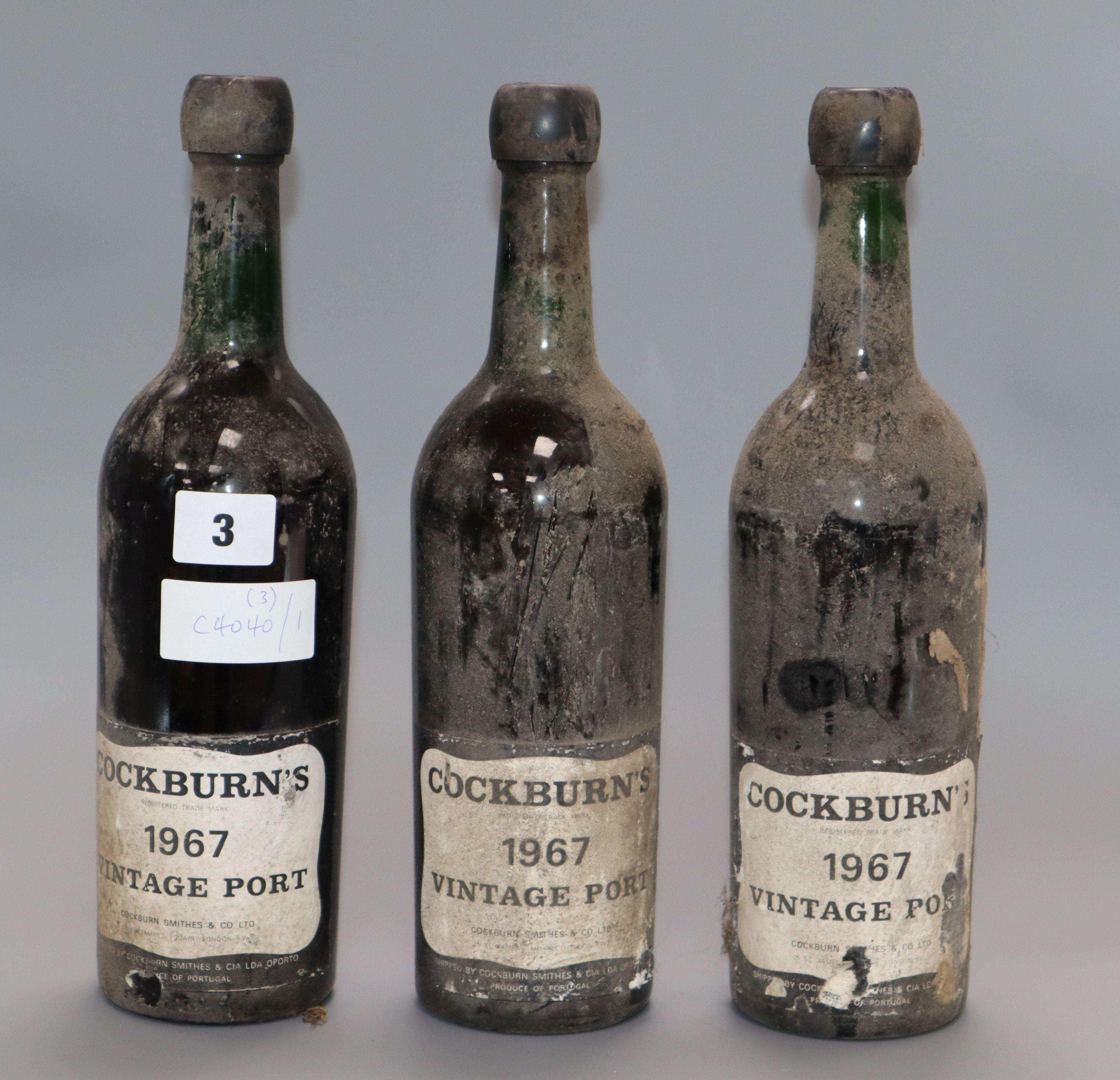 Lot 3 - Three bottles of Cockburns vintage port 1967