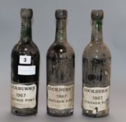 Three bottles of Cockburns vintage port 1967