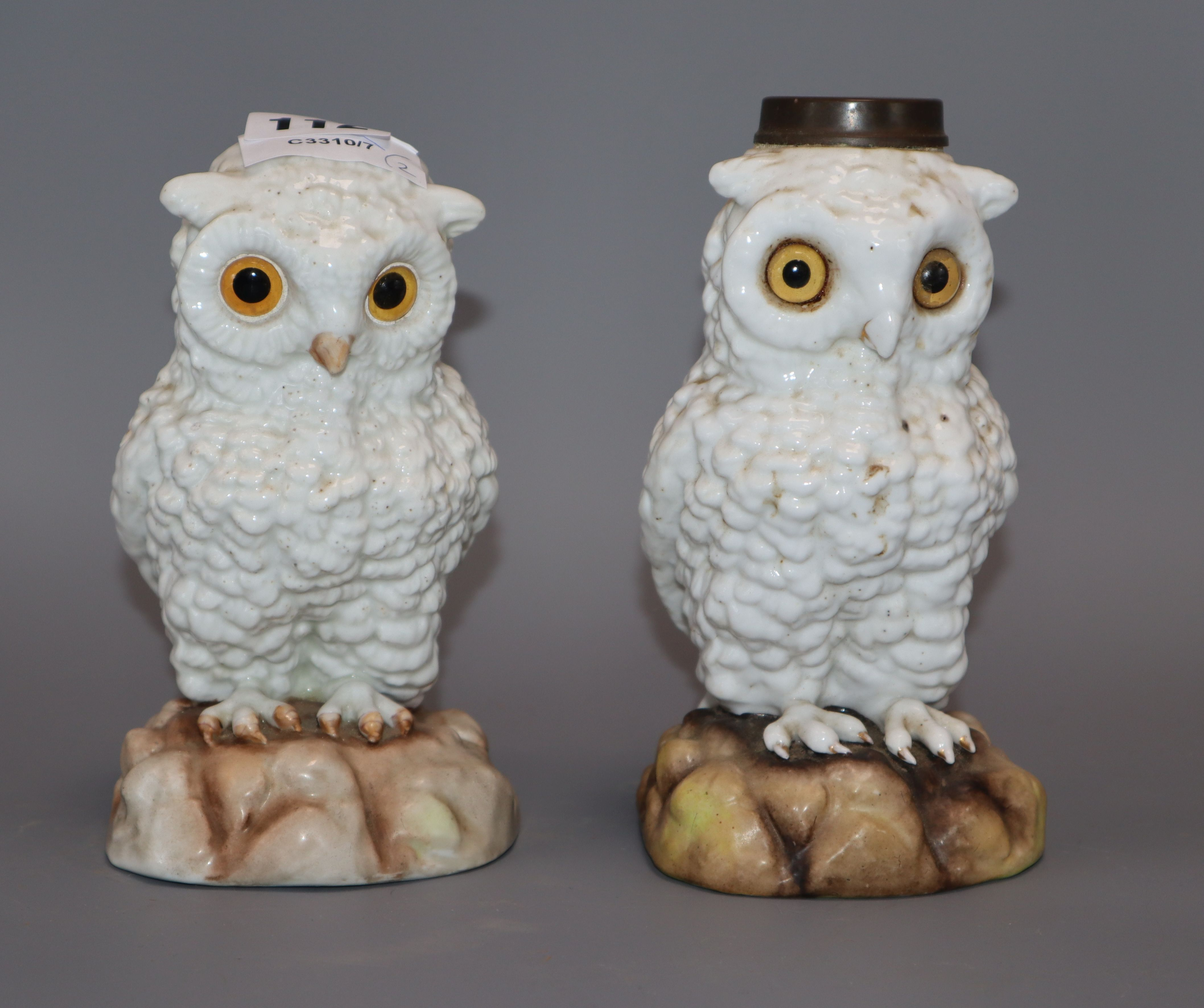 Lot 112 - A Continental porcelain 'owl' and a similar lamp base