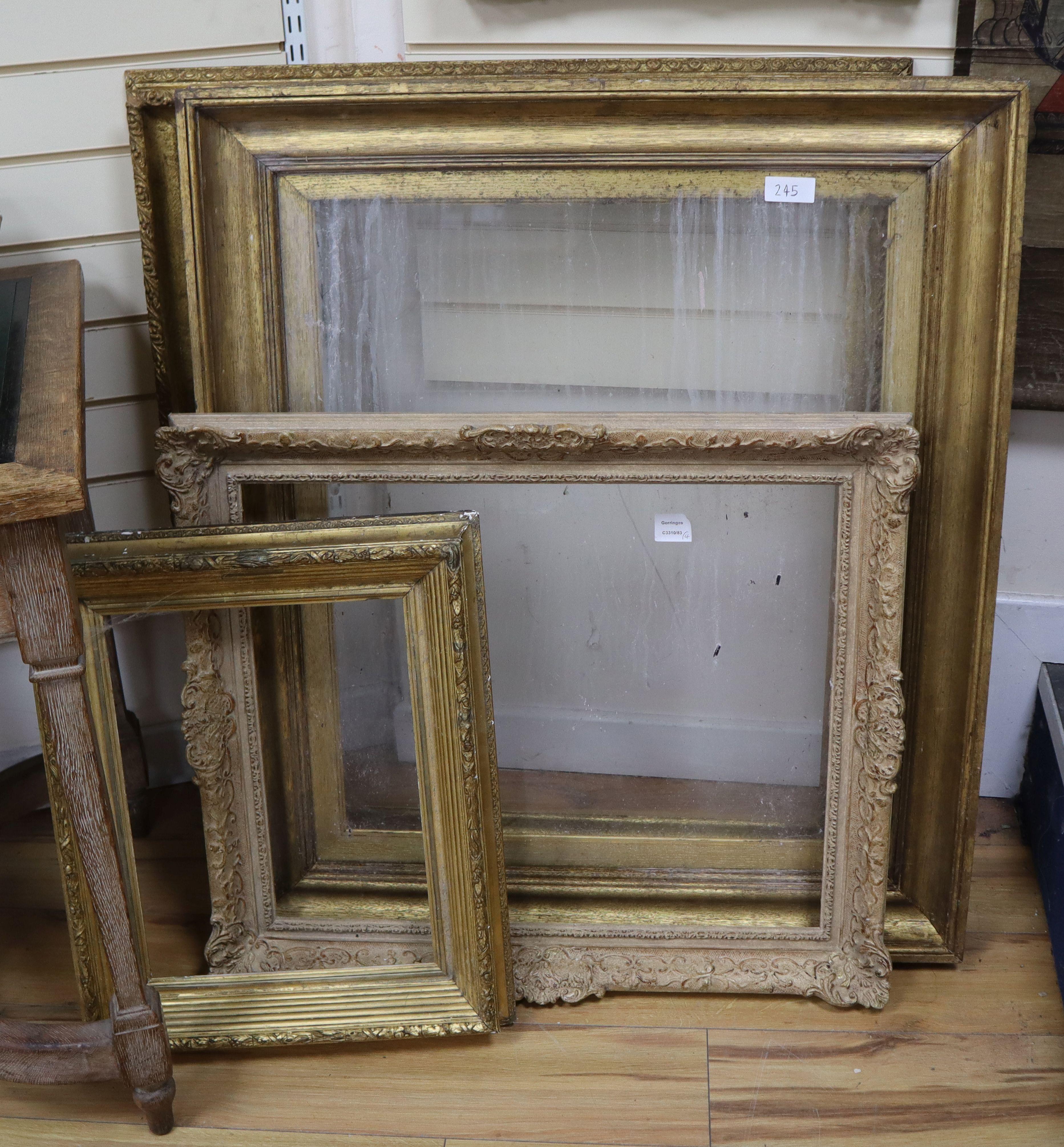 Lot 245 - Four 19th century gilt frames