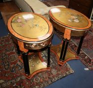 A pair of Chinese style oval painted lacquer two tier occasional tables W.70cm